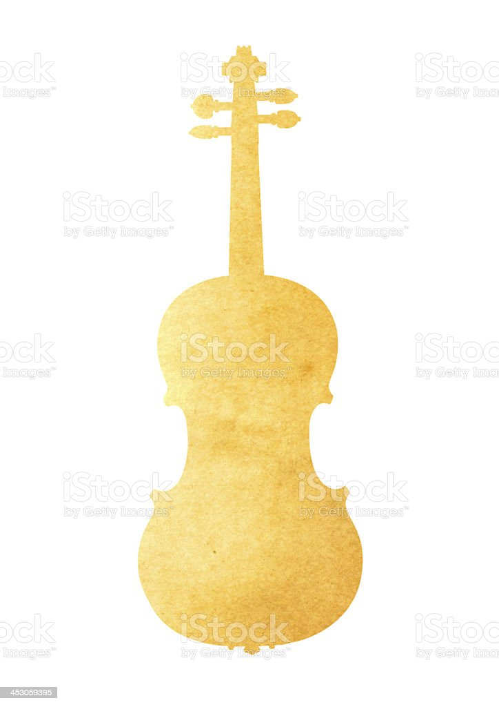 Grunge image of violin from old paper isolated royalty-free stock photo