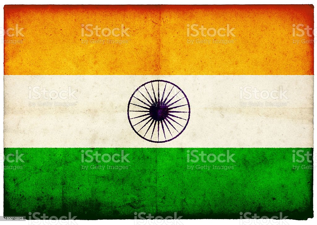 Grunge Indian Flag on rough edged old postcard stock photo