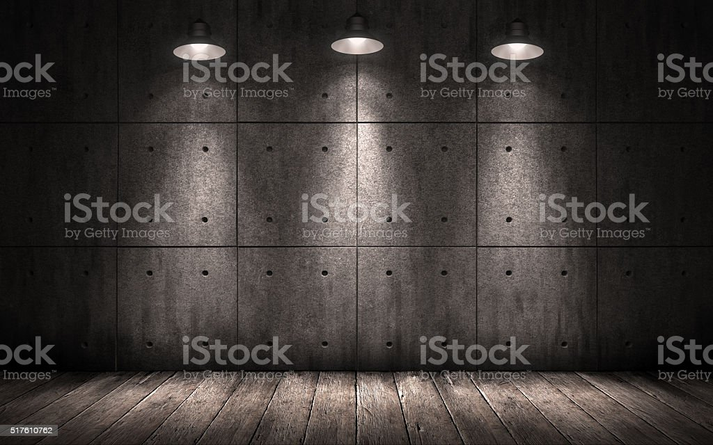 grunge industrial background illuminated ceiling lamps stock photo