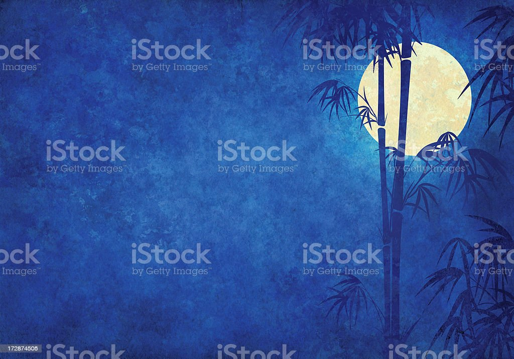 grunge japanese night with bamboo and moon royalty-free stock photo