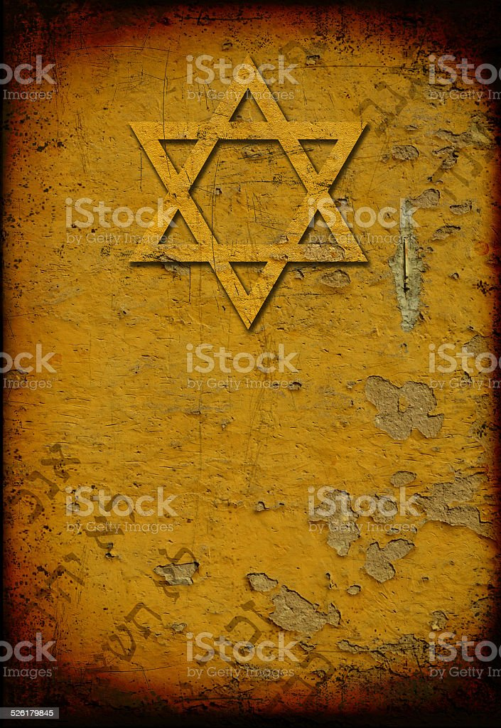 Grunge jewish background with star of David and hebrew letters stock photo
