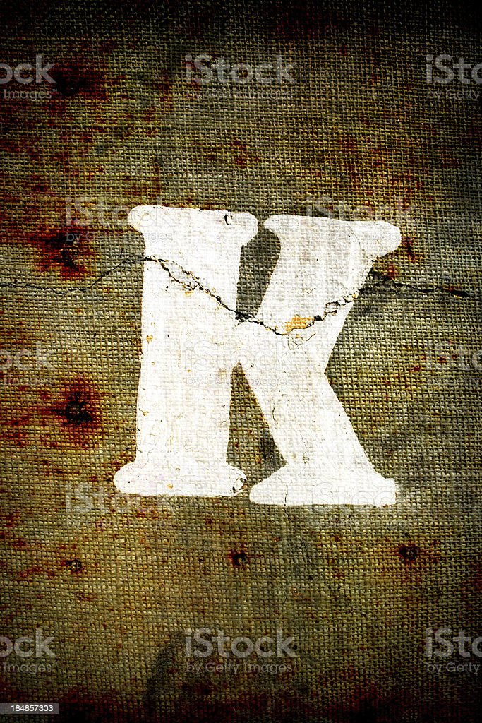Grunge letter K royalty-free stock photo