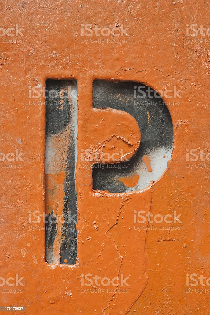Grunge Letter P royalty-free stock photo