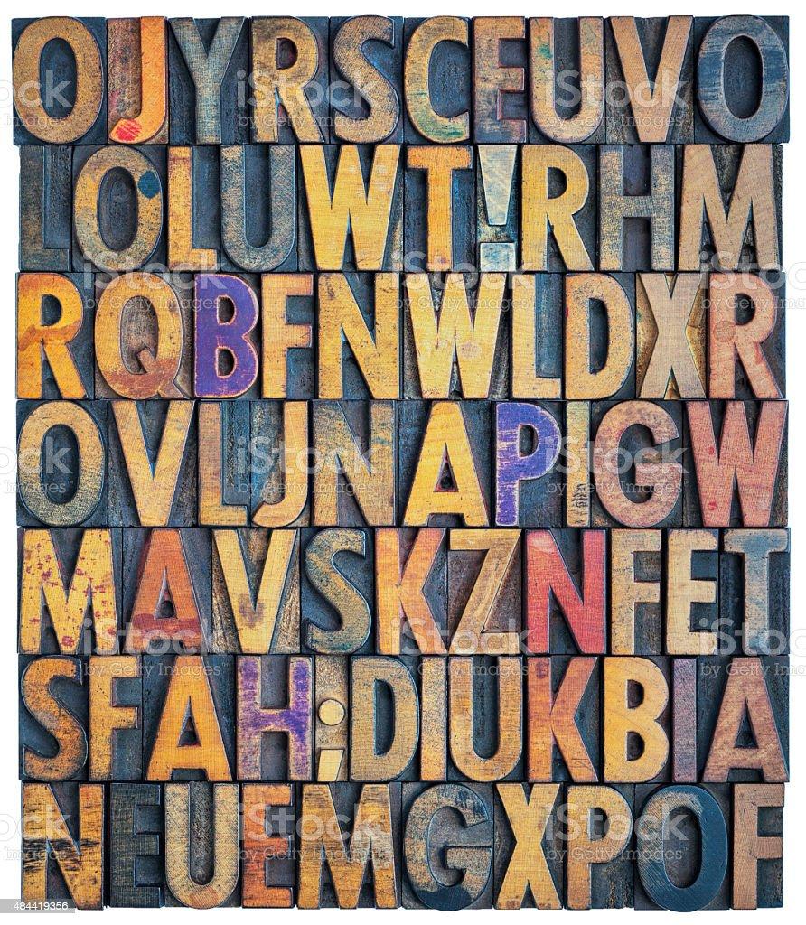 grunge letterpress alphabet background stock photo