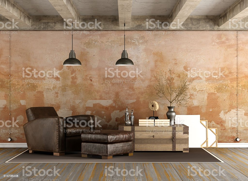 Grunge Living room stock photo
