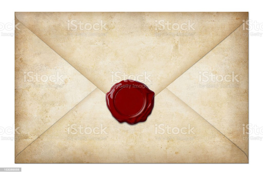grunge mail envelope with wax seal isolated on white stock photo