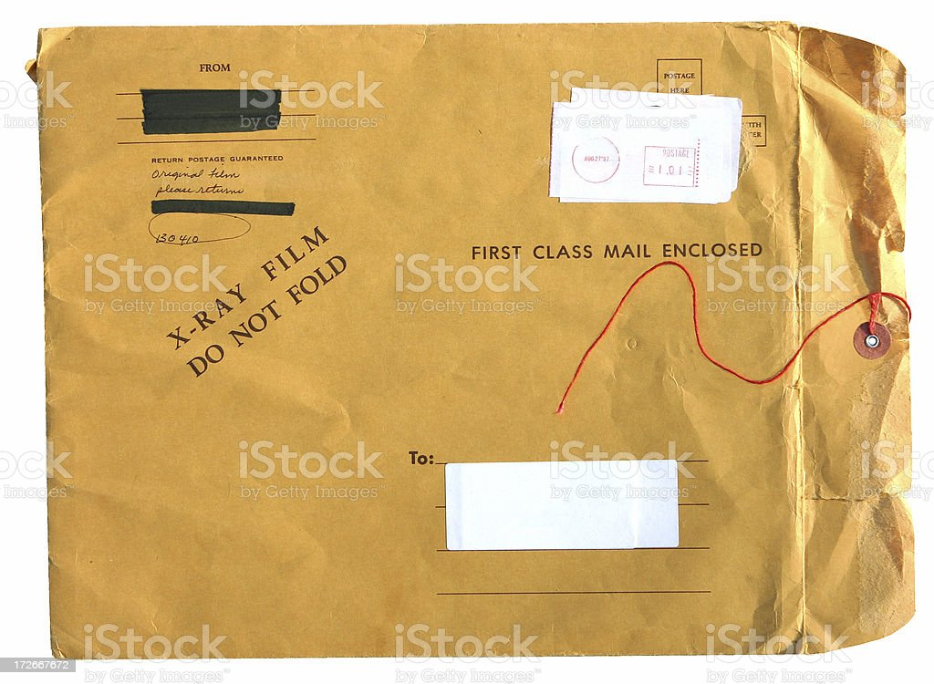 Grunge Mail Folder with String stock photo