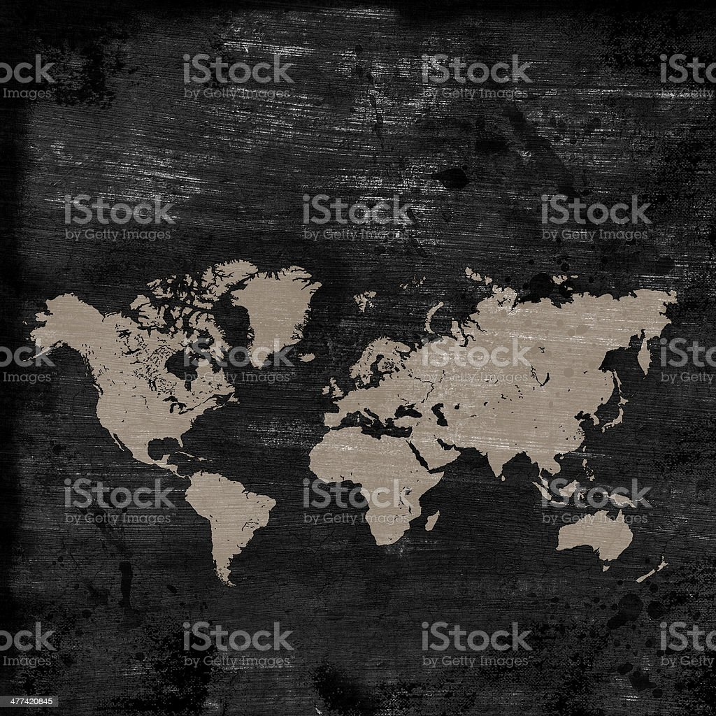 grunge map of the world royalty-free stock photo