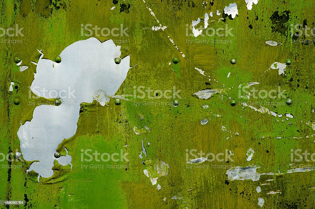 Grunge metal tank texture with pins stock photo