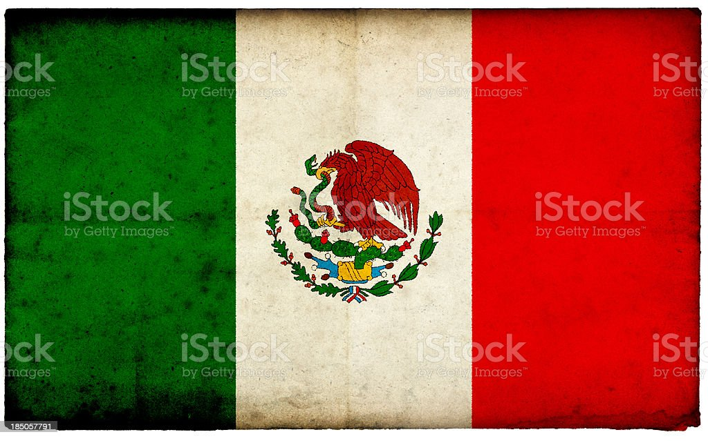 Grunge Mexico Flag on rough edged old postcard stock photo