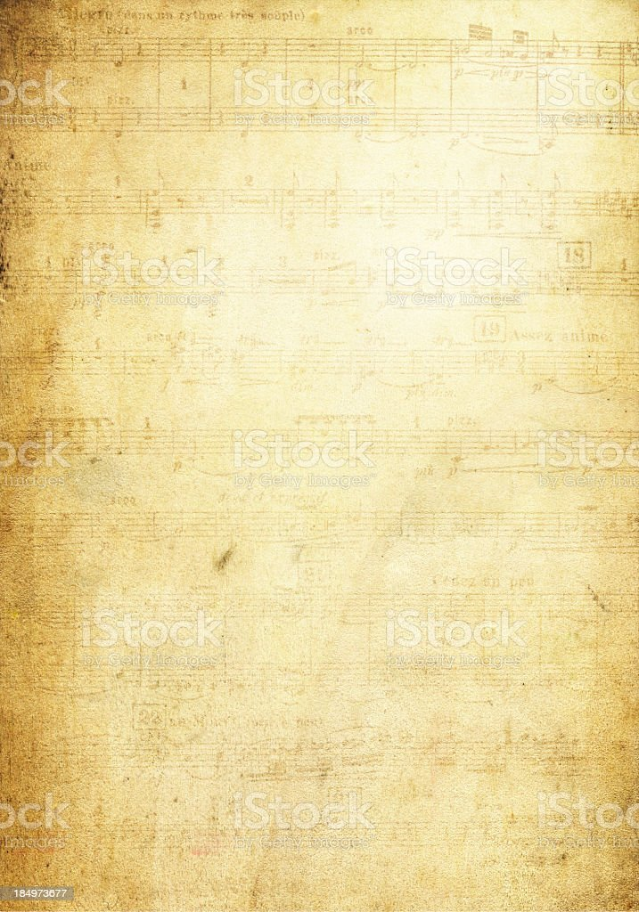 Grunge Musical Note Page background textured stock photo