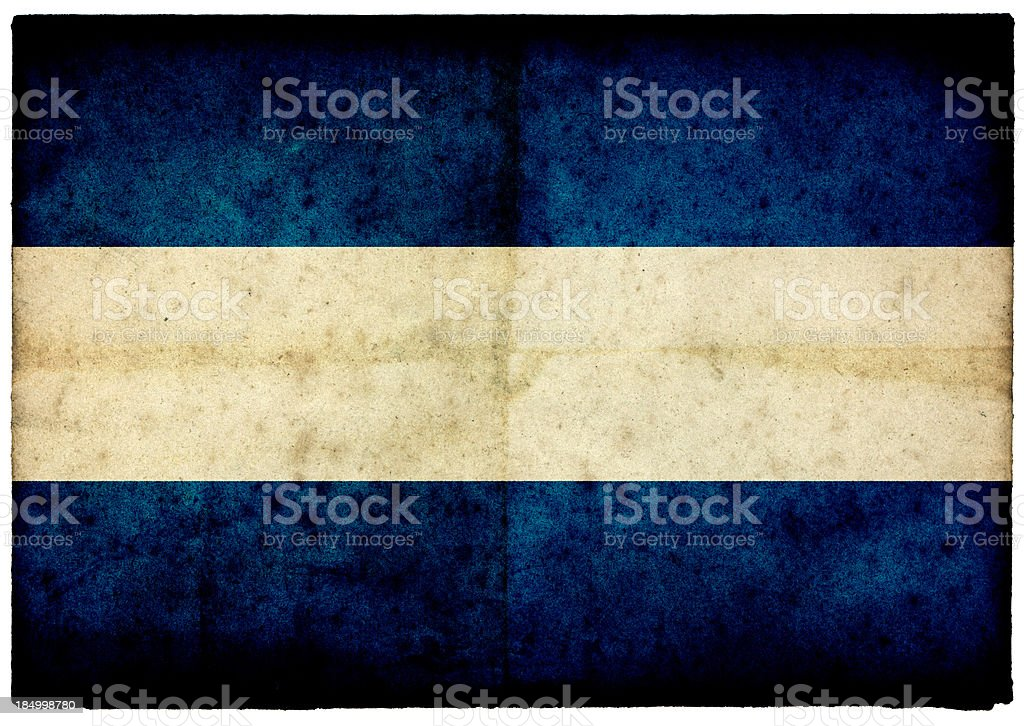 Grunge Nicaraguan Flag on rough edged old postcard stock photo