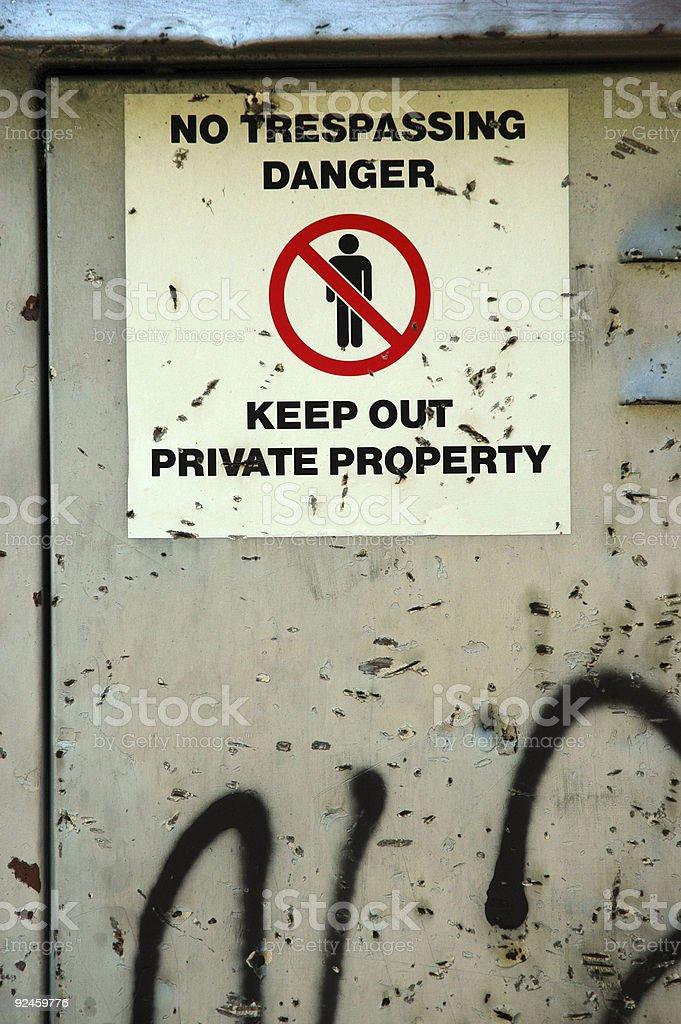Grunge No Trespassing Sign royalty-free stock photo