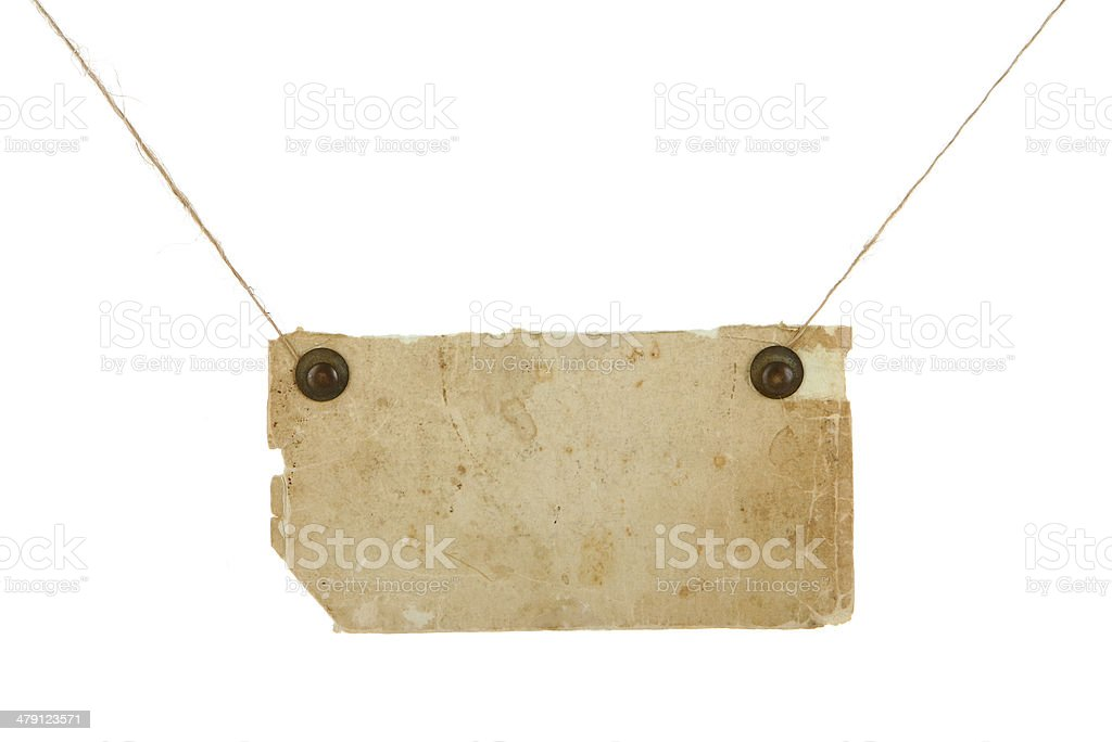 Grunge note hanging by twine royalty-free stock photo