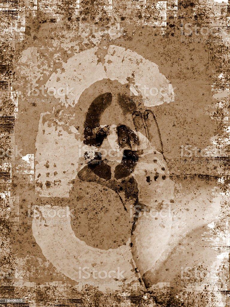 Grunge Number 6 royalty-free stock photo