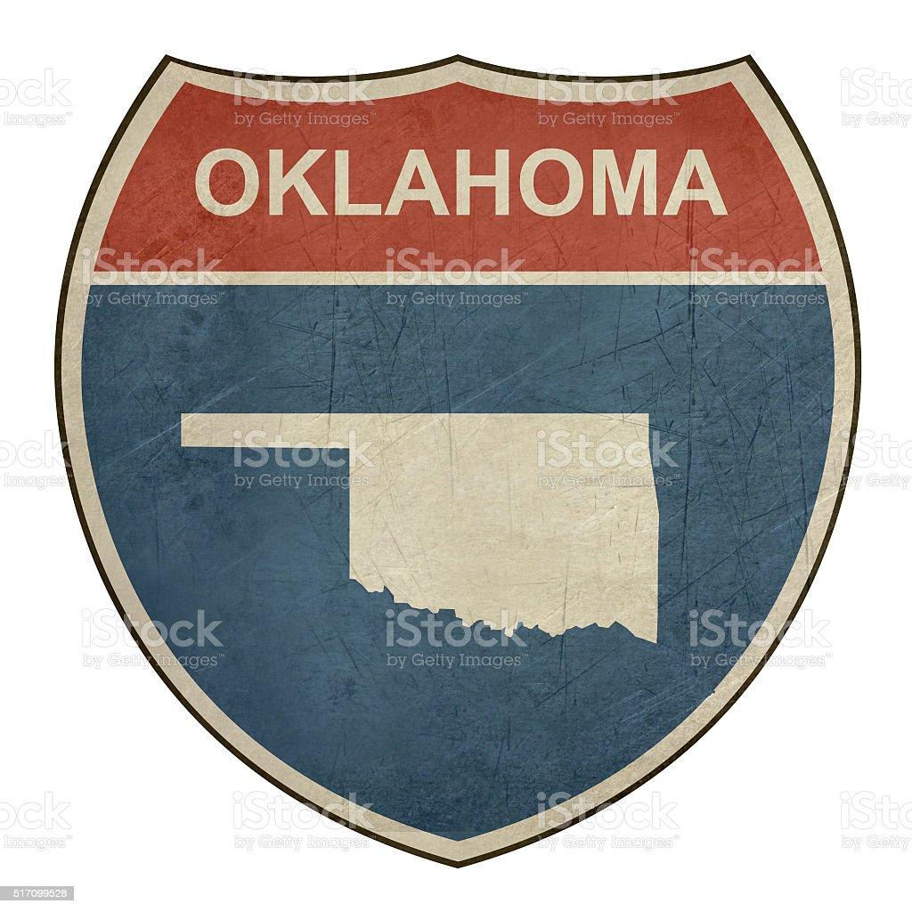 Grunge Oklahoma interstate highway shield stock photo