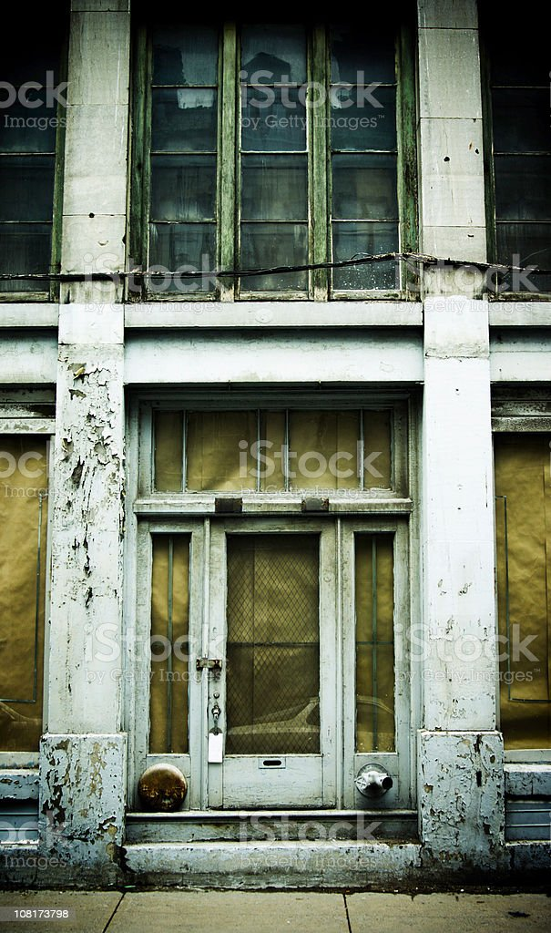 Grunge, Old Building Facade with Peeling Paint royalty-free stock photo