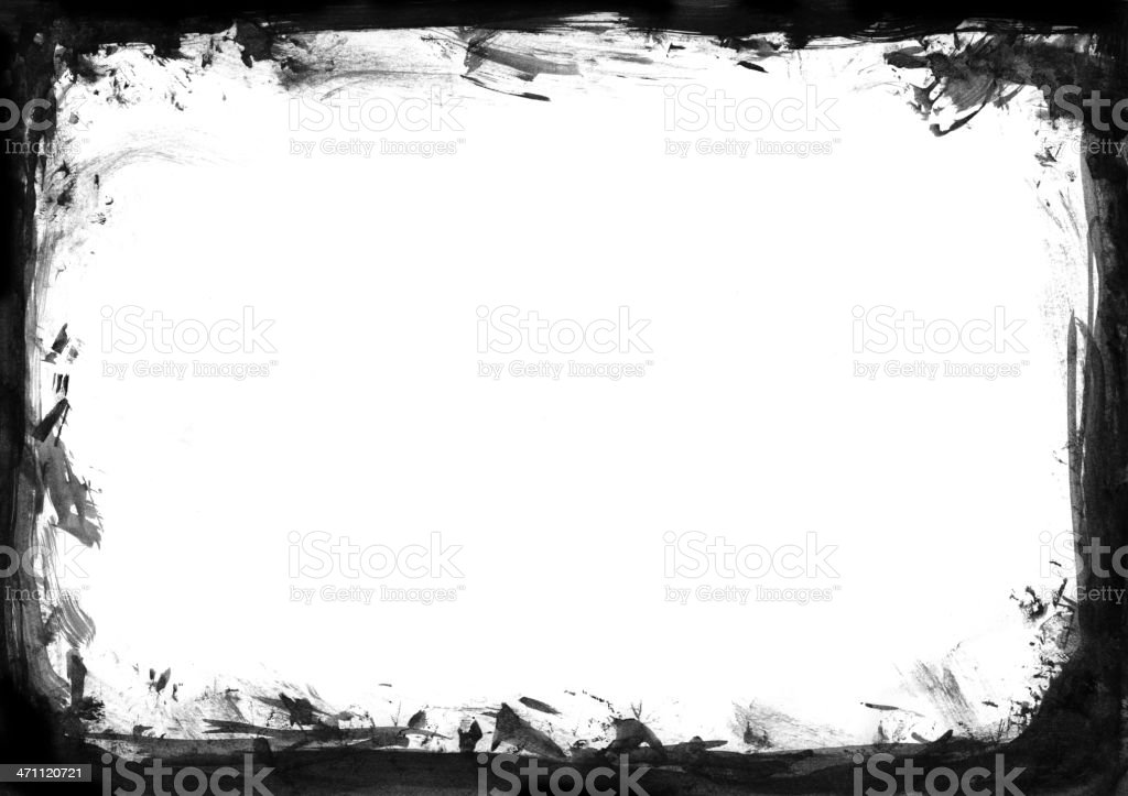 Grunge painted watercolor frame stock photo