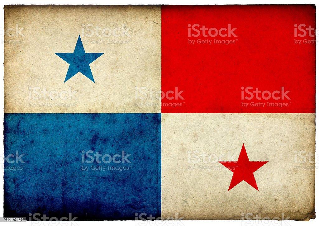 Grunge Panamanian Flag on rough edged old postcard stock photo
