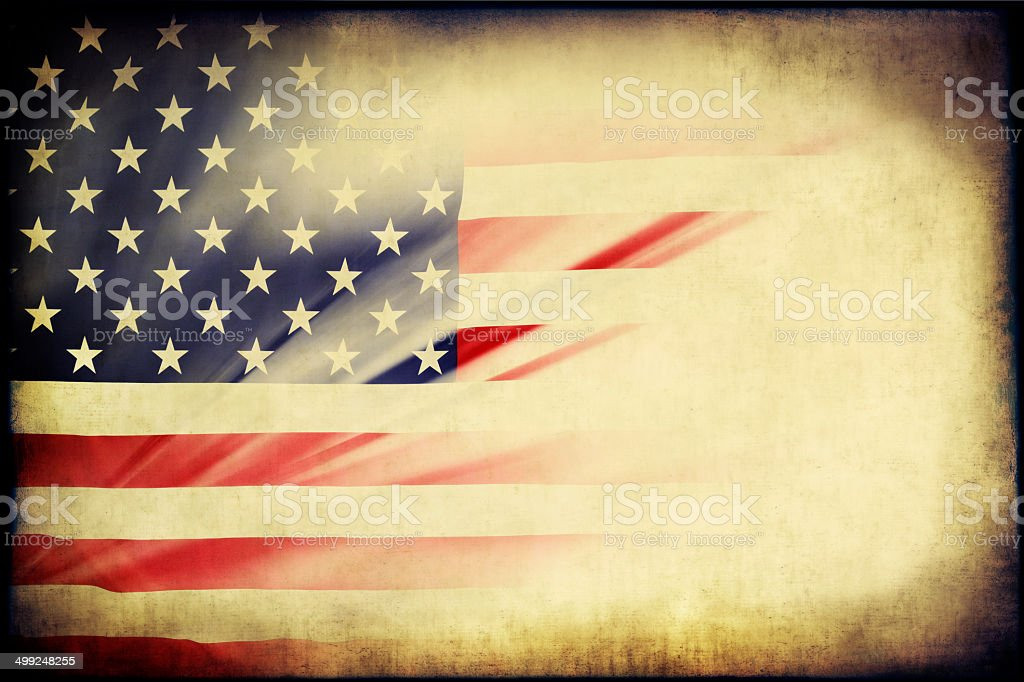 Grunge Paper With American Flag royalty-free stock photo