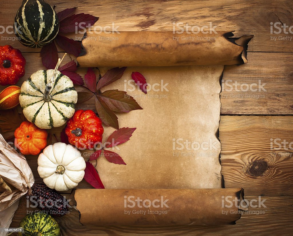 Grunge paper with Autumn decoration royalty-free stock photo