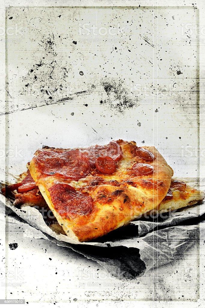 Grunge Pepperoni Pizza stock photo