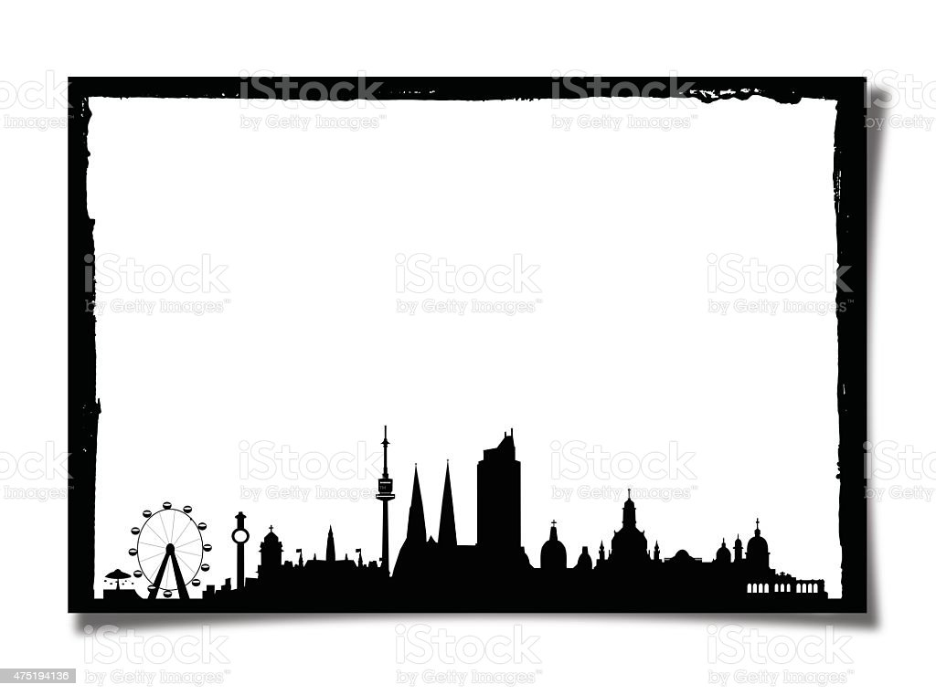 Grunge Photo Frame With Silhouette of Wien stock photo