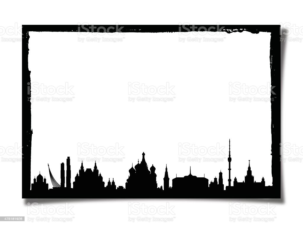 Grunge Picture Frame With Silhouette of Moscow vector art illustration