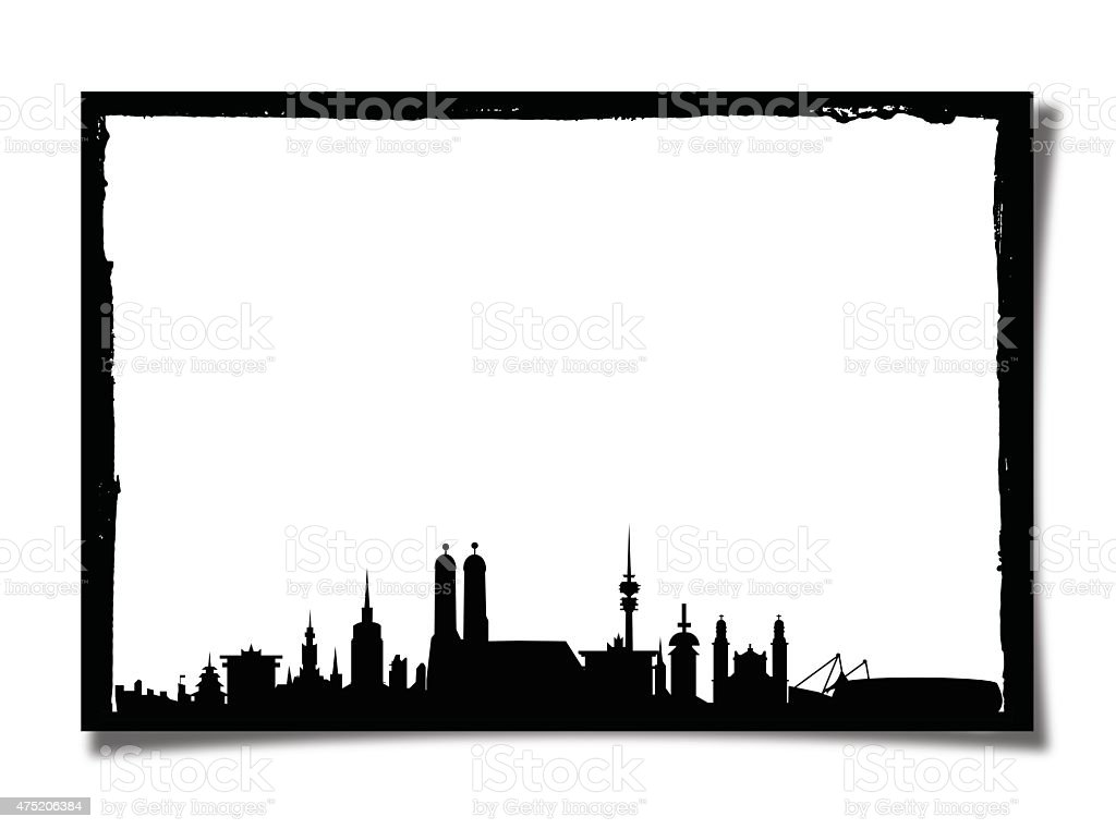 Grunge Picture Frame With Silhouette of Munich stock photo