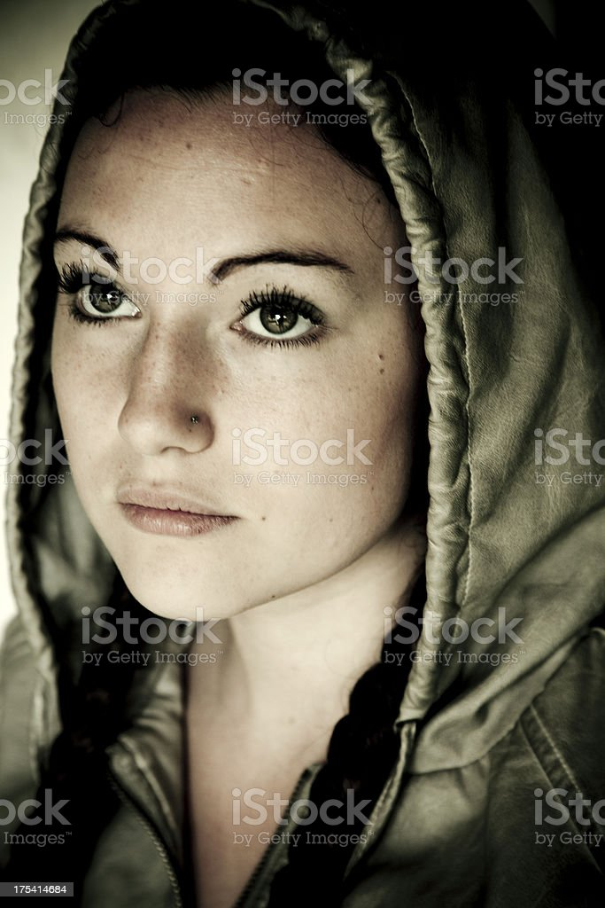 Grunge Portrait of young woman royalty-free stock photo