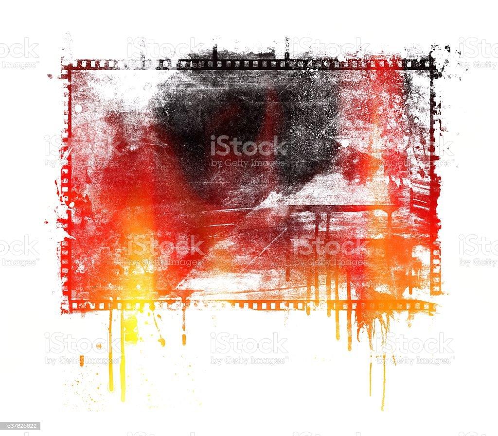 Grunge Rot Und Schwarz Tropfender Hintergrund Mit Filmstreifen ...
