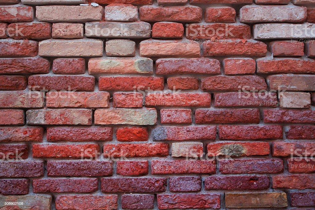 Grunge red brick wall background stock photo
