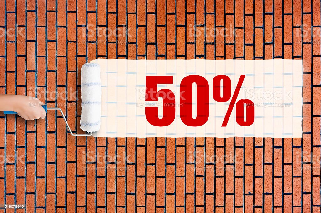 Grunge red brick wall background with 50% stock photo