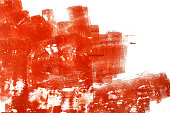 Grunge red brush strokes on white background