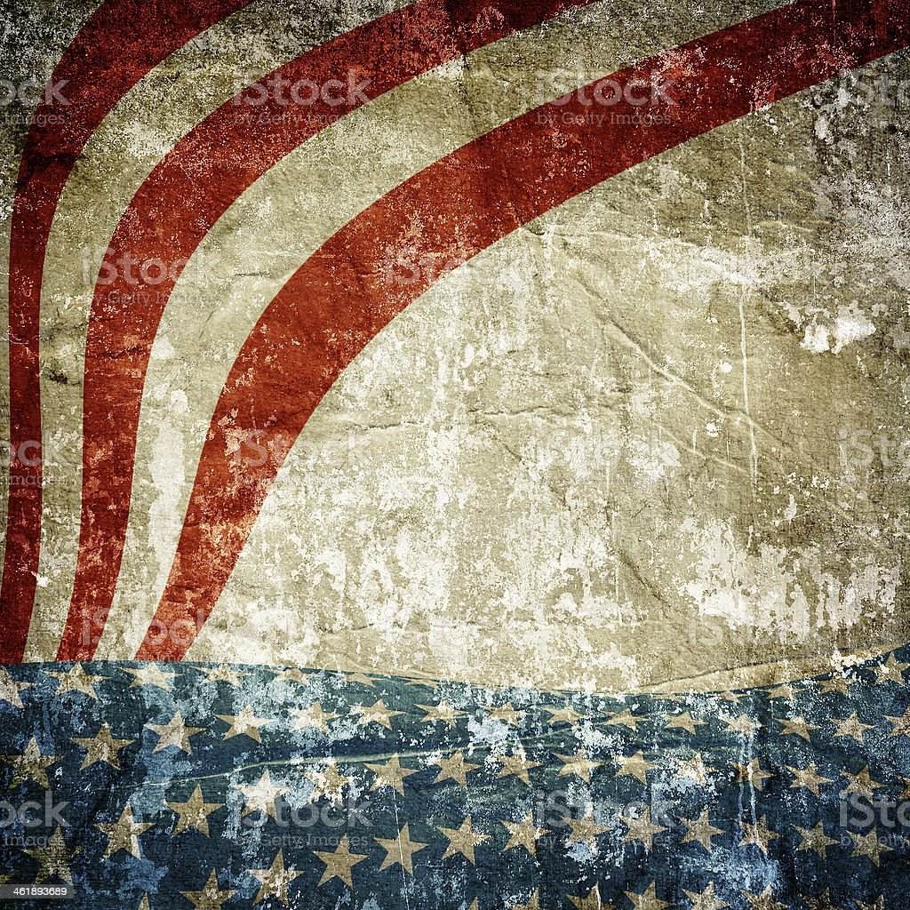 Grunge red stripes with white stars on a blue background stock photo