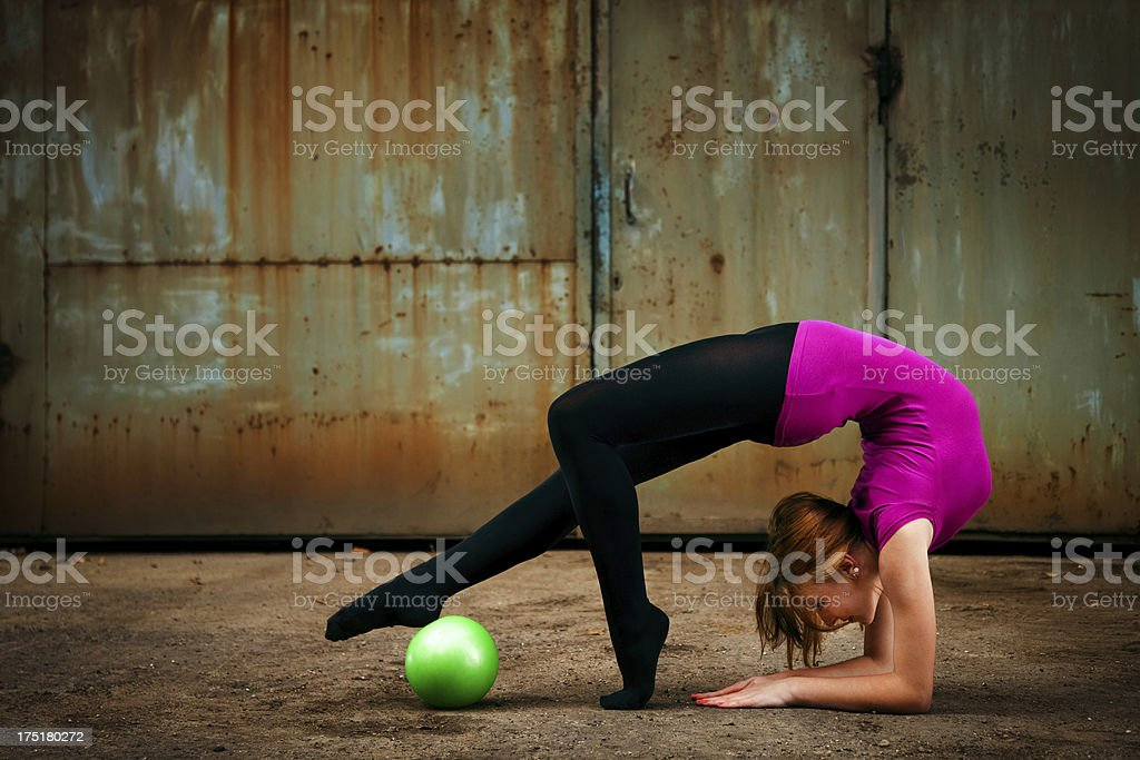 Grunge Rhythmic Gymnastics - Dancing With Ball stock photo