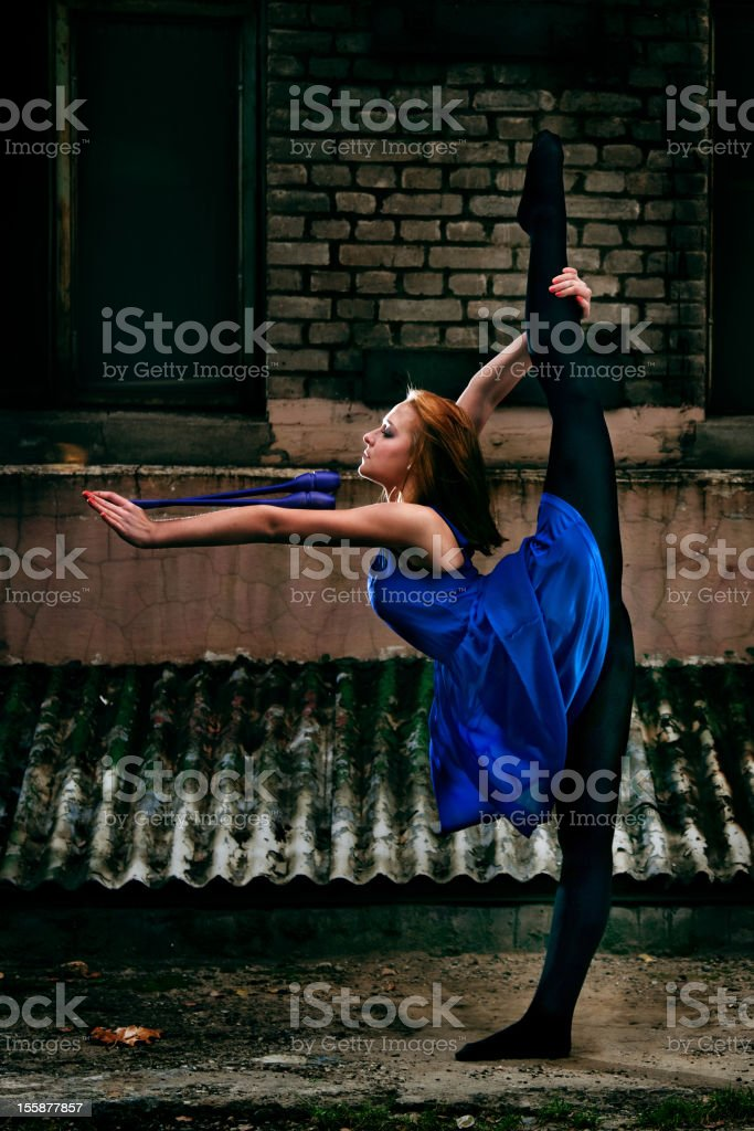 Grunge Rhythmic Gymnastics - Dancing With Clubs royalty-free stock photo