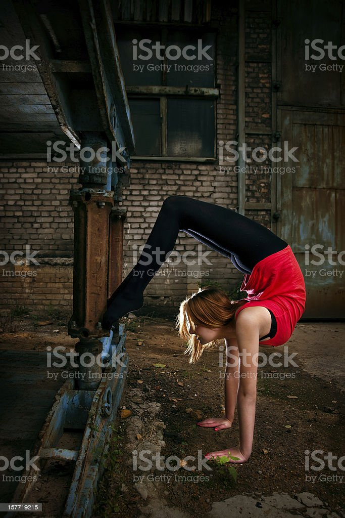 Grunge Rhythmic Gymnastics - Stretching royalty-free stock photo