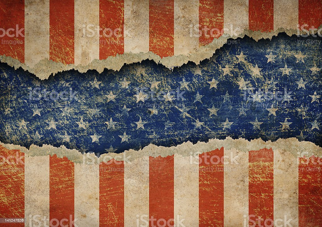 Grunge ripped paper USA flag pattern stock photo