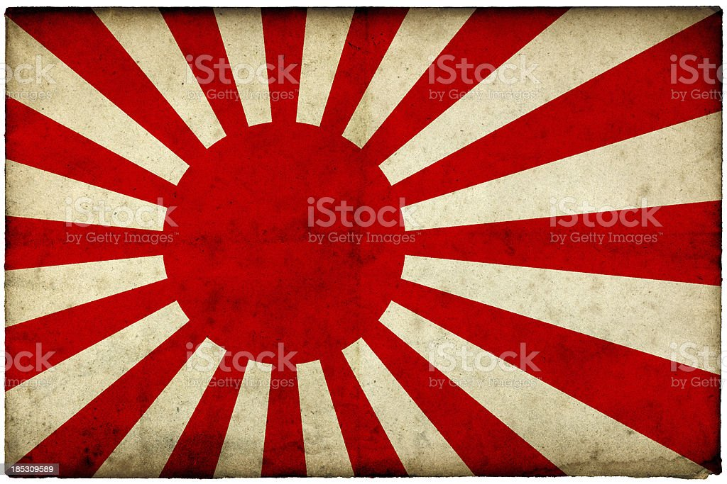 Grunge Rising Sun flag on rough edged old postcard stock photo