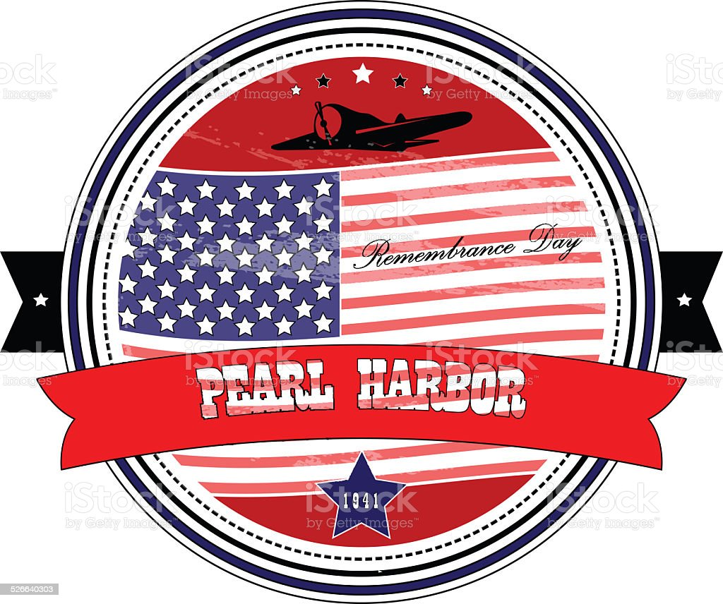 Grunge rubber stamp Pearl Harbor Remembrance Day stock photo