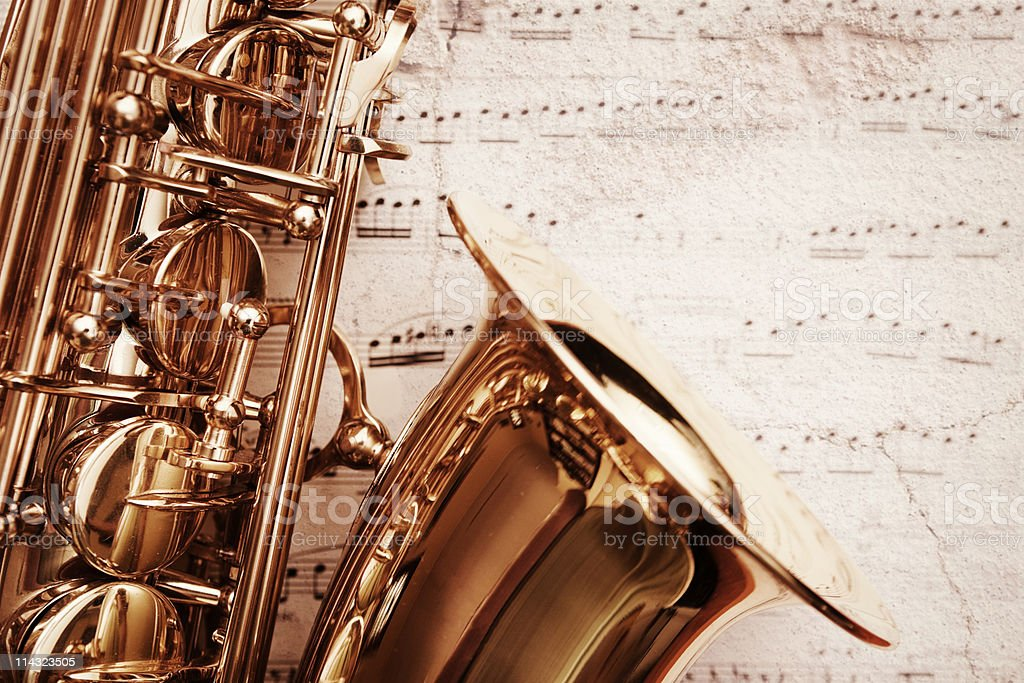 Grunge saxophone on music royalty-free stock photo