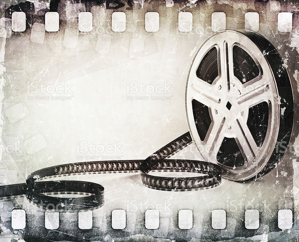 grunge scratched dirty film strip, reel background stock photo