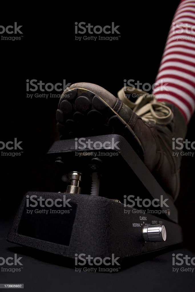 grunge shoe on a whammy pedal stock photo