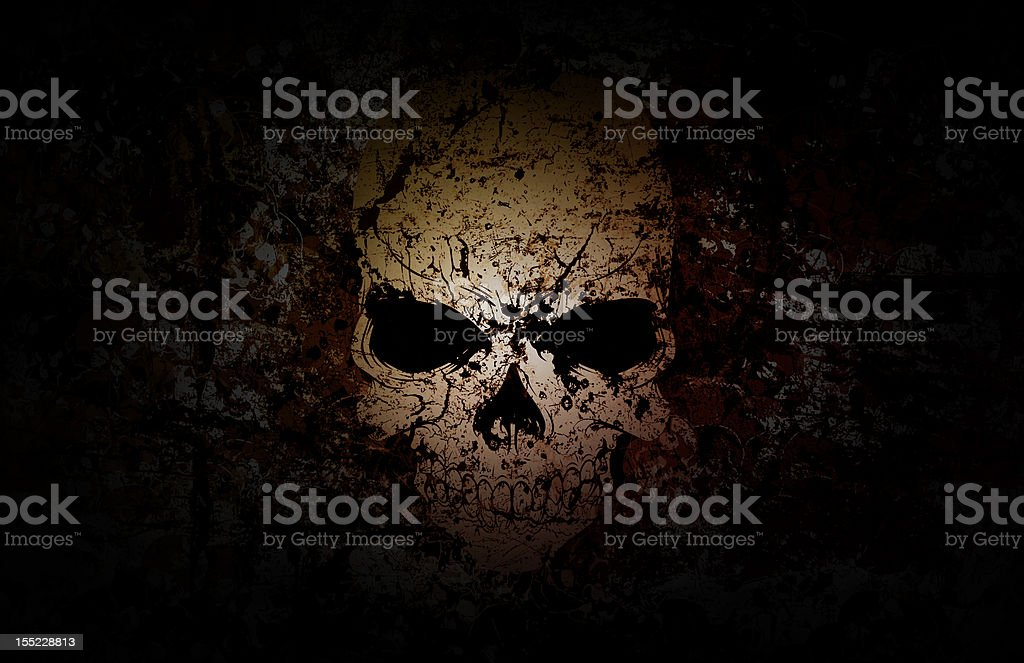 Grunge Skull Dark Background stock photo