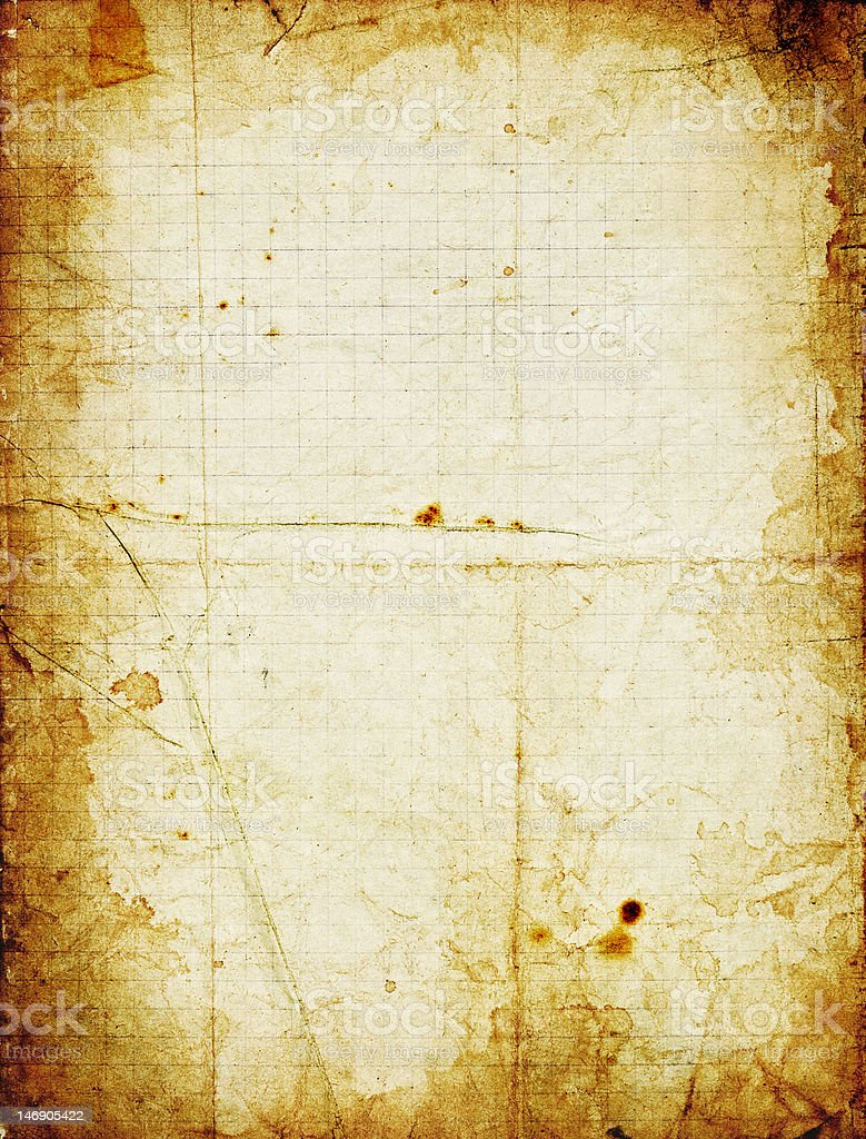 Grunge squared paper with dark stained frame royalty-free stock photo