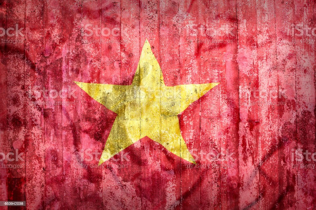 Grunge style of Vietnam flag on a brick wall stock photo