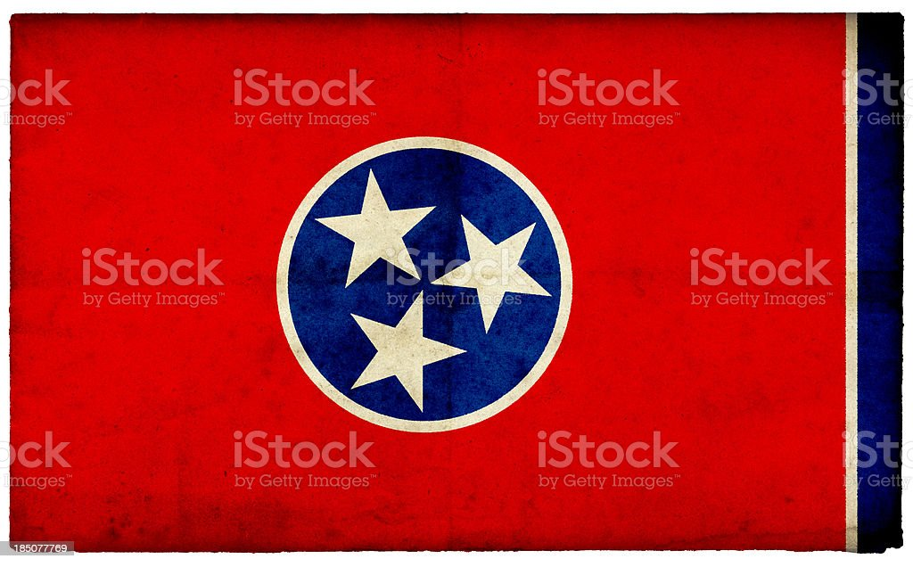 Grunge Tennessee State Flag on rough edged old postcard stock photo