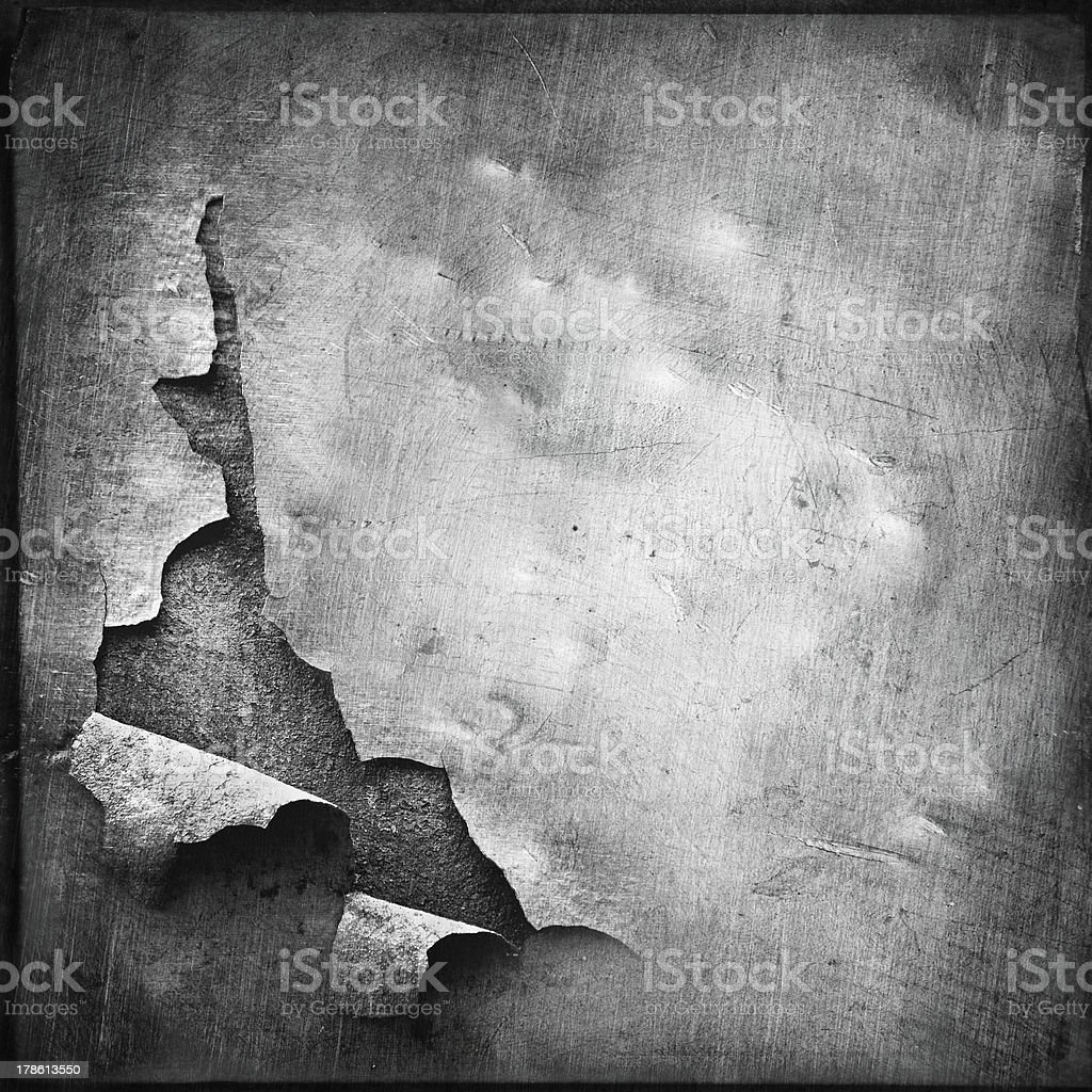 grunge texture of teared metal sheet; abstract background stock photo