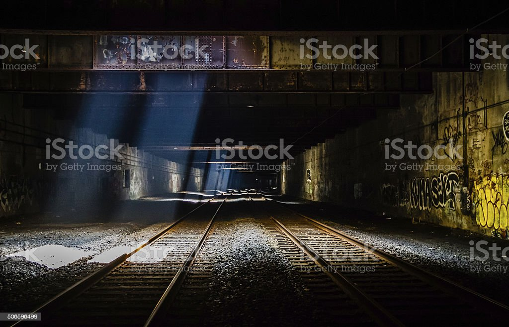 Grunge Train Tunnel stock photo